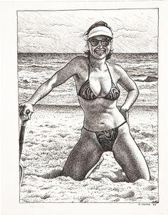 ROBERT CRUMB - Original pin-up art from Art & Beauty Magazine published by Fantagraphics, Robert Crumb, Fritz Le Chat, Comics In English, Alternative Comics, Line Art, Bristol Board, Digital Museum, Bd Comics, Collaborative Art