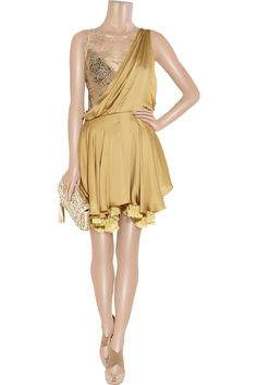 Embellished silk-satin and lace dress by Julien Macdonald