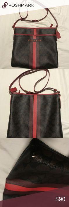 coach versatile stripe file bag Used coach versatile stripe file bag signature brown true red cross body Coach Bags Shoulder Bags