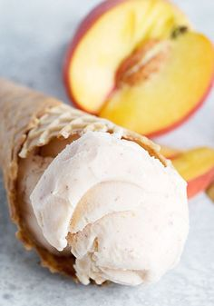 Tastes just like eating a fresh peach! No eggs and no cooking required. #peachicecream Trim Healthy Recipes, Pureed Food Recipes, Dessert Recipes, Dessert Ideas, Yummy Recipes, Recipies, Peach Ice Cream Recipe, Ice Cream Recipes, Ice Cream Desserts