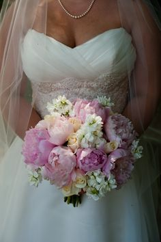 Atlanta Wedding Florist.  Canton, GA. Wedding Flowers.  Bridal Bouqets.  Pink peonies, white stock, ivory roses. Flowers by Joanne