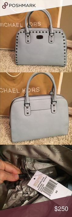 💙Michael Kors Large Studded Bag💙 ⭐️NWT MK Studded Large Satchel in Color Pale Blue..Studs are Gunmetal 🔹Gorgeous Bag🔹Limited Edition 🔹Crossbody Strap inc🔹Purse Feet to protect bottom🚫NO TRADES🚫💥Less on Ⓜ️💥 Michael Kors Bags Satchels