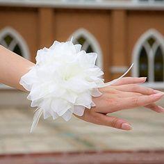 Miya® 1 Fleur blanche comme bracelet/accessoires pour cheveux en voile dentelle, accessoires mariage, vacances, accessoires de plage…