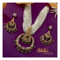 Embrace Royalty with the Finest Designs from Shilpa Lifestyle. - October 19 2019 at Antique Jewellery Designs, Fancy Jewellery, Gold Jewellery Design, Indian Jewelry Sets, Silver Jewellery Indian, Silver Jewelry, Silver Rings, Bridal Jewelry, Beaded Jewelry