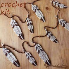 crochet garland kit owl feathers//diy by WildwoodCrochetStore (aff)