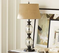 Stacked Mercury Glass Table Lamp Base #potterybarn- for wrought iron base entry table?