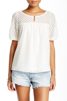 Love, Zoe | Dot Lace Elbow Sleeve Blouse | HauteLook