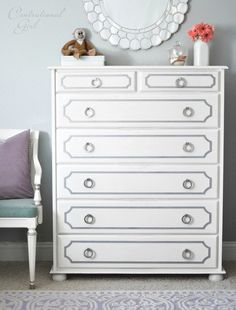 white dresser with gray overlays and nickel ring pulls