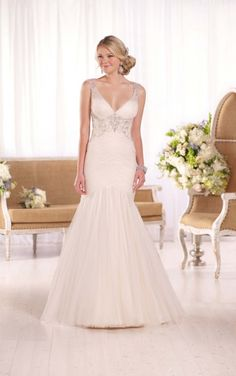 D2078 French Tulle & Lavish Satin Wedding Gown by Essense of Australia
