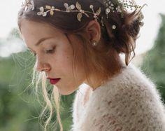 Silk bridal flower crown with lily of the by EricaElizabethDesign