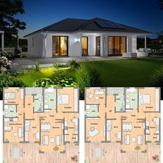 Living without steps - for example in This bungalow is available with . Modern Bungalow House, Duplex House, Modern Exterior Doors, Interior Exterior, Town Country Haus, German Houses, Amazing Spaces, Home Design Plans, House Layouts