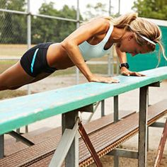 People give me looks, but I wear my fitness proudly! Outdoor Workout: Park Bench Push-Up Trio Details on how you could win a new bike: Fitness Motivation, Fit Girl Motivation, Fitness Goals, Fitness Tips, Health Fitness, Women's Health, Outdoor Yoga, Outdoor Fitness, Strength Workout