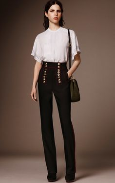 Rendered in a technical twill, this **Burberry** trouser features a military design with a high waist, gold button details at the front, and a slim leg silhouette.