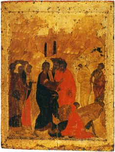 Resurrection of Lazarus, from the festal row of the iconostasis in the Annunciation Cathedral of the Moscow Kremlin. The Resurrection of Lazarus: Icons / OrthoChristian. Byzantine Icons, Byzantine Art, Andrei Rublev, Raising Of Lazarus, Nativity Church, Biblical Hebrew, Russian Icons, Russian Orthodox, Spirituality
