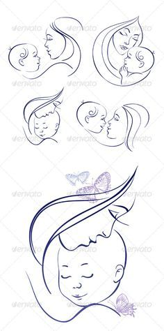 Buy Mother and Baby Icon Set by pimonova on GraphicRiver. Set of linear silhouettes of mothers and babies includes: one image of mother and baby with hand drawn butterflies, f. Mother And Baby Tattoo, Mother Son Tattoos, Baby Hand Tattoo, Baby Angel Tattoo, Tattoo For Son, Tattoos For Daughters, Pencil Art Drawings, Art Drawings Sketches, Baby Tattoos