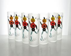 7 Vintage Glass Tumblers  Robots  1950's  Mid Century by BeeJayKay, $75.00
