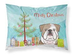 Christmas Tree and English Bulldog Fabric Standard Pillowcase BB1591PILLOWCASE