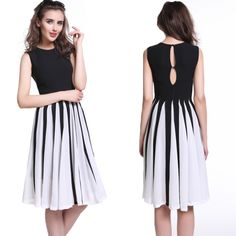 Fashion Women Chiffon Dress Crew Neck Sleeveless Buttons Back Dress Slim Party Tank Dress Black