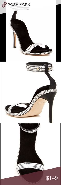 Off white and Black Cole Haan sandals Super cute new heels. 3.5 inch heel. Lightly padded foot bed. All leather and all over print. Adjustable ankle strap with prong closure . B standard width. Size 8 . No box. Cole Haan Shoes Heels