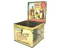 Antique Tobacco Tin 1920s Cinco Handy Humidor Tin Ornate Lithograph Antique Cinco Handy Humidor Advertising 1910s Cinco