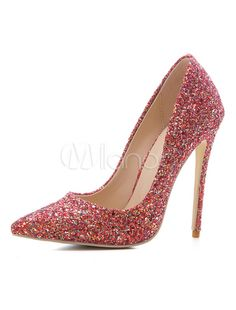 cafc309ceda8 Women Evening Shoes Glitter High Heel Prom Shoes Pointed Toe Gold Slip On  Pumps - Milanoo.com