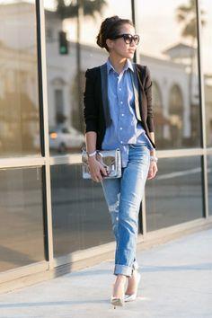 Denim Squared :: Chambray shirt & Boyfriend jeans   FashionLovers.biz