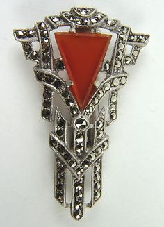 Splendid Geometric Art Deco Sterling Silver Brooch with Marcasites