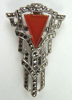 Splendid Geometric Art Deco Sterling Silver Brooch with Marcasites