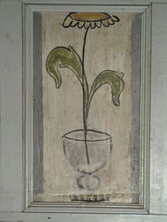 Window decorations, panel, circa 1916-1917, gouache on gesso on wood, painted by Vanessa Bell, 39 cm x 12 cm.