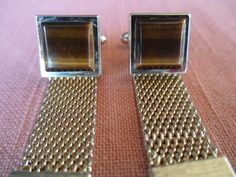 Tigers Eye Mesh Cuff Links  Goldtone Marked  by ChicAvantGarde