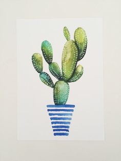 Print of original watercolor painting of a cactus succulent striped pot stripes green nature botanical art drawing illustration Succulents Drawing, Cactus Drawing, Cactus Art, Cactus Flower, Easy Watercolor, Watercolor Drawing, Watercolor Illustration, Watercolor Cactus, Watercolor Artists