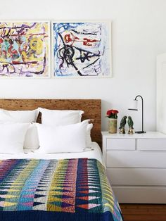 Sophie and Andrew Gunnersen — Main bedroom featuring artwork by Italian artist Euphen, custom made bedhead and French 'Caravane' lights. Production – Lucy Feagins / The Design Files. Home Bedroom, Bedroom Decor, Master Bedroom, Room Ideias, Quilt Modernen, Inside Home, The Design Files, Beautiful Bedrooms, Interiores Design