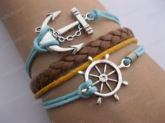 Love this! All 4 are connected in the back to make one bracelet.  Sailing times bracelet,rudder bracelet,anchor bracelet-Z186. $8.50