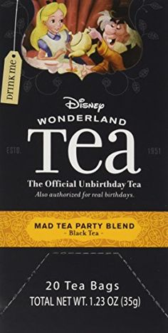 Disney World Parks Exclusive Mad Tea Party Blend Tea Bags Box 20 Count Alice Wonderland Collection - NEW ** You can find more details here : Fresh Groceries Mad Hatter Day, Mushroom Tea, Organic Herbal Tea, Disney World Parks, Tea Blends, How To Make Tea, Drinking Tea, Gourmet Recipes, Alice In Wonderland