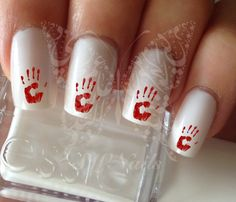 Nail Art Bloody Hand Nail Water Decals Transfers Wraps