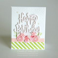 Happy Birthday Gorgeous Stamp set and Happy Birthday Die from Stampin' Up! Card made by Charlet Mallett - Painted Orange. Simple Birthday Cards, Homemade Birthday Cards, Girl Birthday Cards, Birthday Cards For Women, Homemade Cards, Birthday Wishes, Bday Cards, Diy Birthday, Birthday Ideas