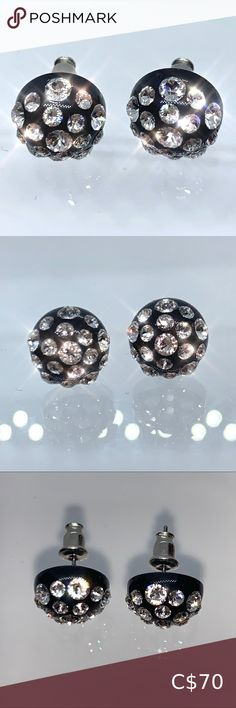 Swarovski Crystal Acrylic Stud Earrings Black Add some sparkle to you day with these  stunning Swarovski Crystal stud earrings.  These gorgeous studs are perfectly embellished with Swarovski® crystal stones and are set on black acrylic.  Hand made to perfection, these earrings are lead and nickel free with sterling sliver backings. Perfect for sensitive ear types.   A luxury gift box and certificate of authenticity included with each product purchase. www.laraglam.com Jewelry Earrings