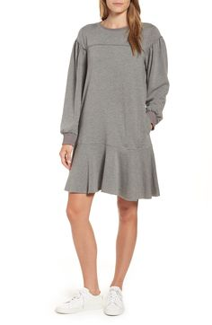 2f1614ebf8f9 Caslon® Ruffle Hem Cotton Blend Sweatshirt Dress (Regular   Petite)