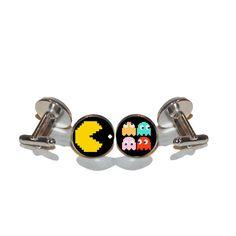Pac Man cufflinks for vintage gamer fans