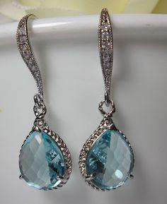 Aquamarine Earrings ~ Teardrops ~ Czech glass ~ Sterling Silver ear wires ~ Something blue ~ Bridesmaids ~ March birthstone ~ Gift ~ Aquamarine Earrings, Sterling Silver Earrings, Blue Earrings, Silver Ring, Dangle Earrings, I Love Jewelry, Fine Jewelry, Bling Bling, Jewelry Accessories