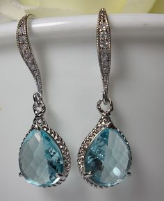 AQUAMARINE Earrings - Sterling Silver earwires - March Birthstone - Beautiful Jewelry - BEST SELLER -. $29.99, via Etsy.