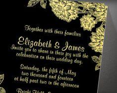 Elegant Black Gold Wedding Invitation