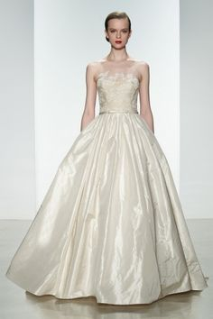 "Amsale Spring 2015 ""Ryan"" gown. Silk taffeta natural waist ballgown with corded lace bodice. #ballgown #illusion"