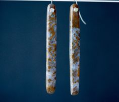 Lilac and Gold Moss Agate Stick Earrings by wallisreidjewelry. Explore more products on http://wallisreidjewelry.etsy.com