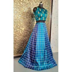 Multi shaded blue taffeta silk printed croptop lehenga Party Wear Indian Dresses, Dress Indian Style, Blue Lehenga, Silk Lehenga, Half Saree Designs, Blouse Designs, Dress Patterns, Indian Fashion, Two Piece Skirt Set