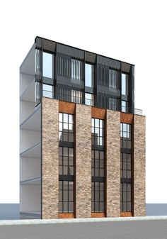 The Frames is a bespoke development tailored to small and creative businesses in Shoreditch. The five-storey building creates sq. Revit Architecture, Architecture Collage, Interior Architecture, Hotels, Small Buildings, Building Facade, Facade Design, Small Apartments, Facades