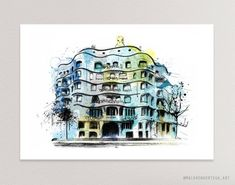 La Pedrera Gaudi, Digital Printing Machine, Antonio Gaudi, Poster Prints, Art Prints, Mid Century Art, Sketch Painting, The Masterpiece, Urban Sketching