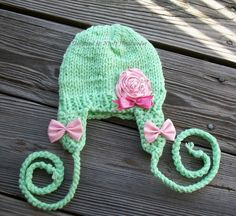 CHUNKY ROSE Earflap Beanie Pale green36 months by NinisHandmades, $32.00