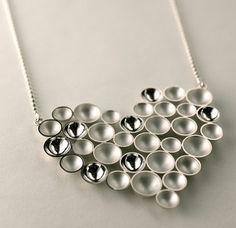"Annaleena Soini, ""Kupliva"" (bubbly) heart silver necklace. | Annaleena Soini Follow Finland Jewelrypinterest ● facebook ● google+ ● twitter or subscribe"