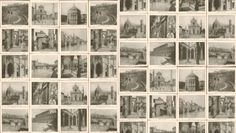 Honeychurch (LW34/1) - Linwood Wallpapers - An all over wallpaper design featuring black and white images of various travels around the world.